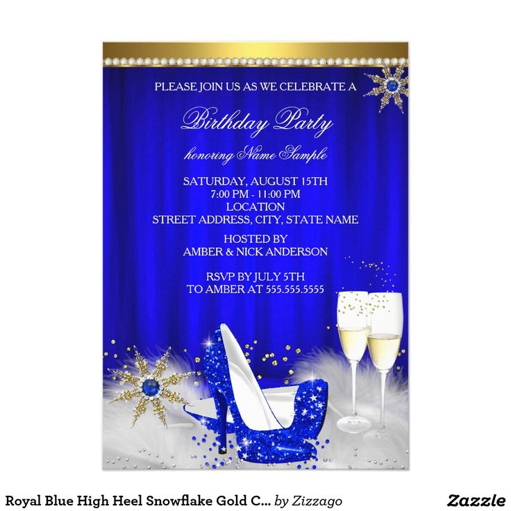 Royal Blue High Heel Snowflake Gold Champagne 5x7 Paper Invitation Card