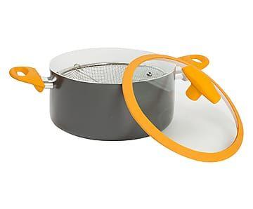 Friggitrice in alluminio con cestello e coperchio arancione - d 22 cm