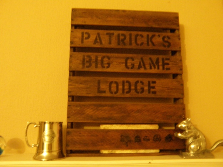 I salvaged an 18 by 22 inch mini pallet. It's a play on words. His room is decorated as a lodge. He's a big (video) gamer so at the bottom are things you hunt/kill in games. We drew them to also look like stencils.  Have fun with this. I did another white in a beach theme for my daughter.