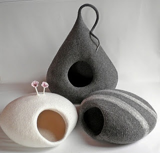 cat pods by Monika Piloch- smaller and could be birdhouses- these are beautiful for kitty's