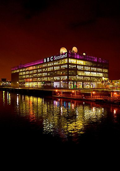 Floating BBC Scotland by Katie Grainger BBC, Glasgow, River Clyde, Reflections, Water, night