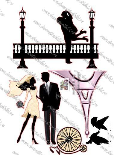 Siluete  imprimate si decupate electronic, ce dezvaluie o poveste de dragoste in Paris.
