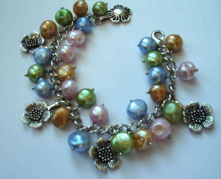 Colourful freshwater pearl charm bracelet