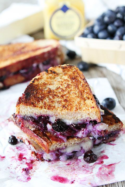 Blueberry, Brie and Lemon Curd Grilled Cheese Recipe on twopeasandtheirpod.com The BEST grilled cheese sandwich!
