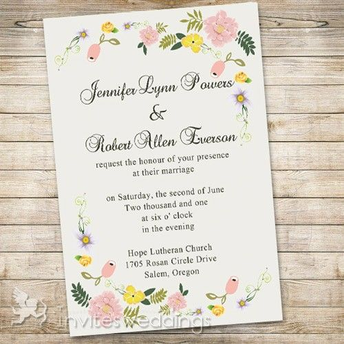 Spring Floral Garden Wedding Invitations IWI307