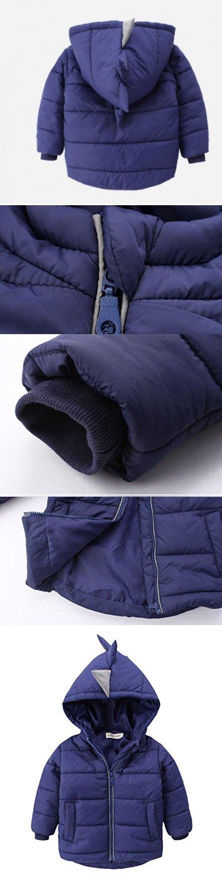 Kids Boys Winter Snowsuit Outerwear Dinosaur Hooded Puffer Down Jacket Coat 1-2T