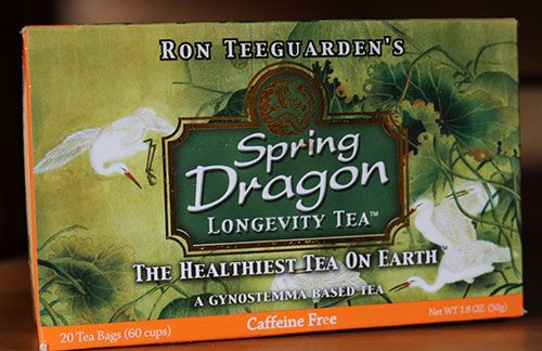 One of our favorite gynostemma tea products to consume is one by Dragon Herbs called Spring Dragon Longevity Tea. This tasty tea blend utilizes gynostemma the base tea ingredient, but also includes five other infused herbal extracts of  goji berries, astragalus, schizandra, siberian ginseng, luo han guo. One tea bag makes 3 cups of tea, so one box of tea usually lasts well over a month.