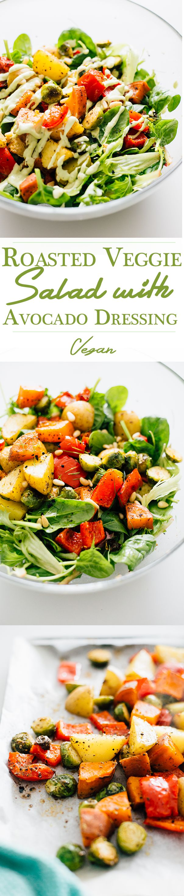 Recipe for a vegan Roasted Vegetable Salad with Creamy Avocado Dressing. Simple, healthy, delicious. || whole food plant based diet