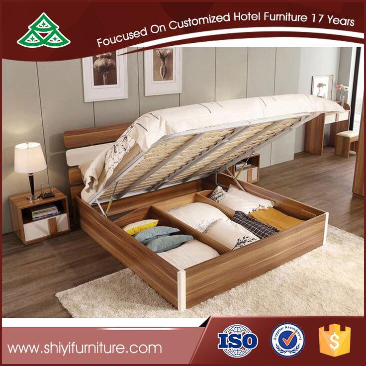 Massief hout koningin opslag bed platform bed met opslag voor slaapkamer