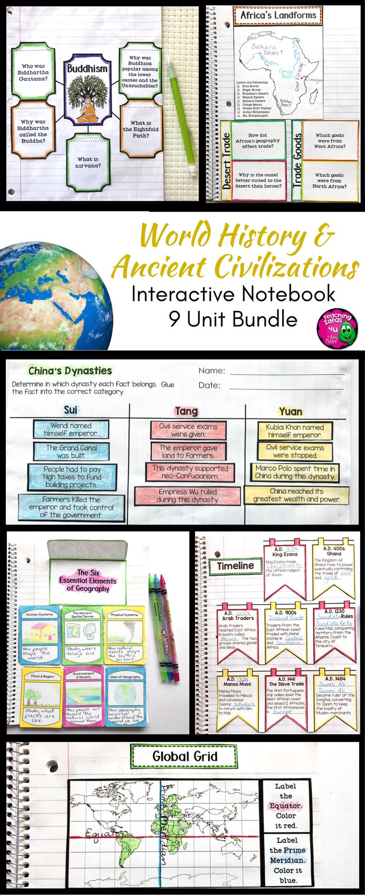 Ancient / World History Interactive Notebook Social Studies BUNDLE - Use this resource with your 5th, 6th, or 7th grade classroom or home school students. It's great for those studying World History, Ancient History, or other Social Studies. Topics include geography, economics, citizenship, early agriculture, Ancient Egypt, Kush, Israelites, the rise of Christianity, Ancient Greek & India, Early China, Rome, and much more. {fifth, sixth, seventh graders, upper elementary, middle school}