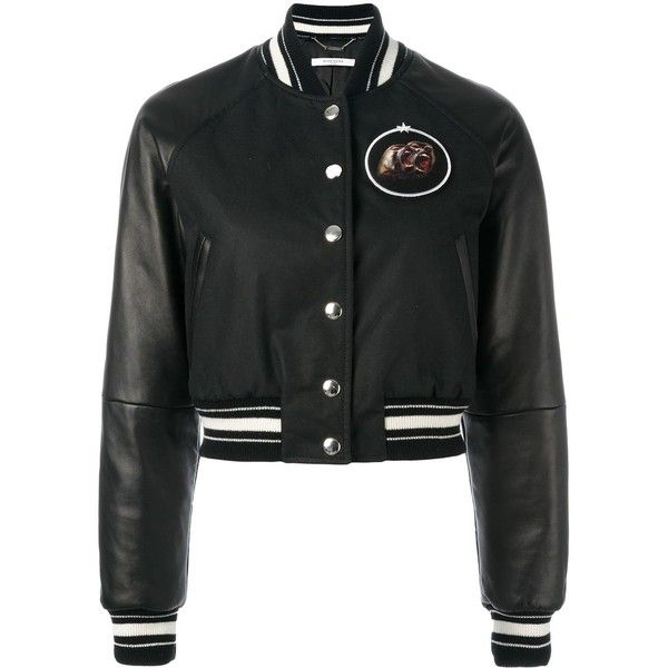 Givenchy cropped bomber jacket (4,750 NZD) ❤ liked on Polyvore featuring outerwear, jackets, black, givenchy, cropped bomber jacket, givenchy jacket, blouson jacket, long wool jacket and wool bomber jacket