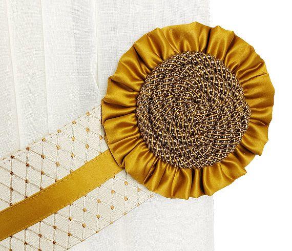 Tie backs gold, Curtain tiebacks, Curtain decor, Rope tie becks, Tie backs , Rope decor, Tie backs classic, Curtain accessories, Satin ties