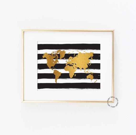 World Map Print Poster Faux Gold Foil Sign Black Stripes
