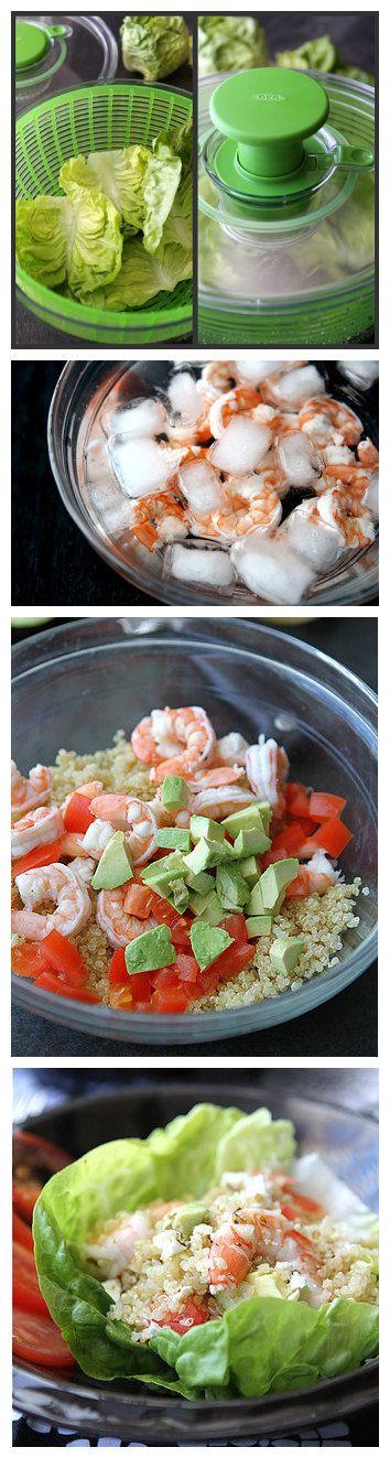 Salad Cups with Quinoa, Shrimp, Avocado & Lemon Dressing Recipe ...