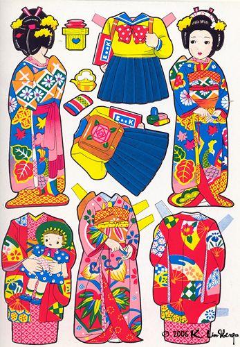 (⑅ ॣ•͈ᴗ•͈ ॣ)♡                                                      Cute Japanese paper dolls