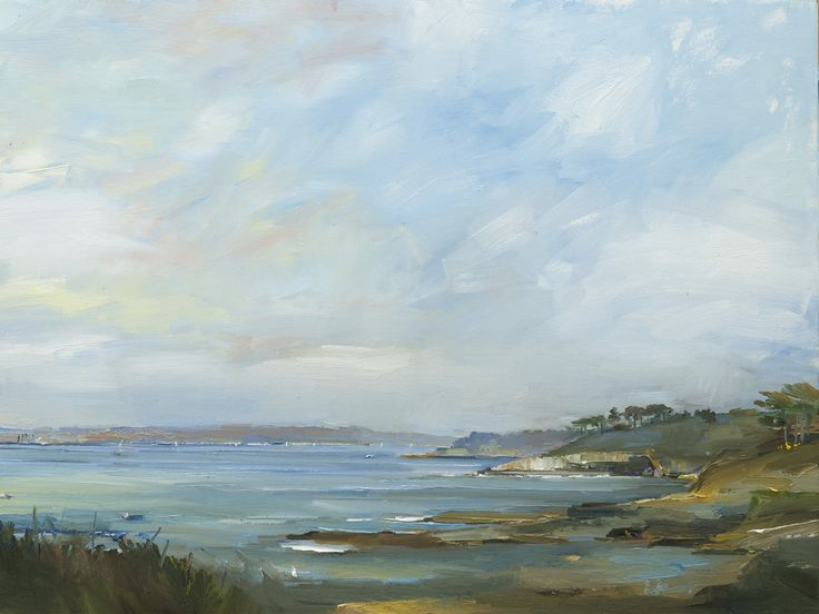 David Atkins Spring Morning from St Antony's Head, Cornwall Oil on Canvas 90 x 120 cm  #Art #Paintings #Landscapes #Cornwall #St.Mawes