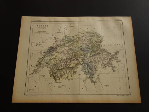 Over 118 year old map of Switzerland in 1896 ancienne carte Suisse by VintageOldMaps