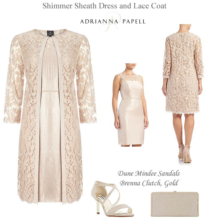 Adrianna Papell shimmer shift dress and matching lace coat. Mother of the Bride Groom gold two piece occasion occasion outfit, dress and wedding duster frock coat.