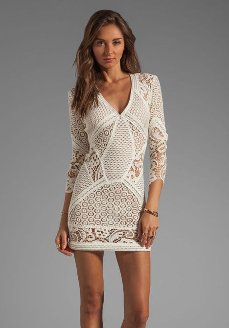 IRO Rovea Lace Dress in Ecru at Revolve Clothing - Free Shipping!