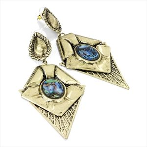 Burnished gold and blue shell effect drop earring.