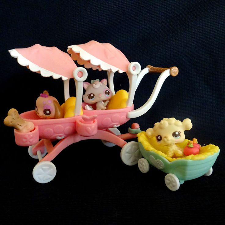 Littlest Pet Shop 2626 2627 2628 Puppy Kitten Lamb Baby Set Pram LPS HASBRO