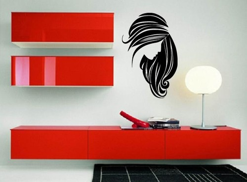 Wall stickers vinyl decal beautiful woman face long hair for Stickers salon design