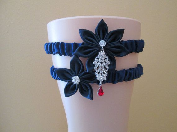 Navy Blue Wedding Garter Set Bling Crystal by GibsonGirlGarters