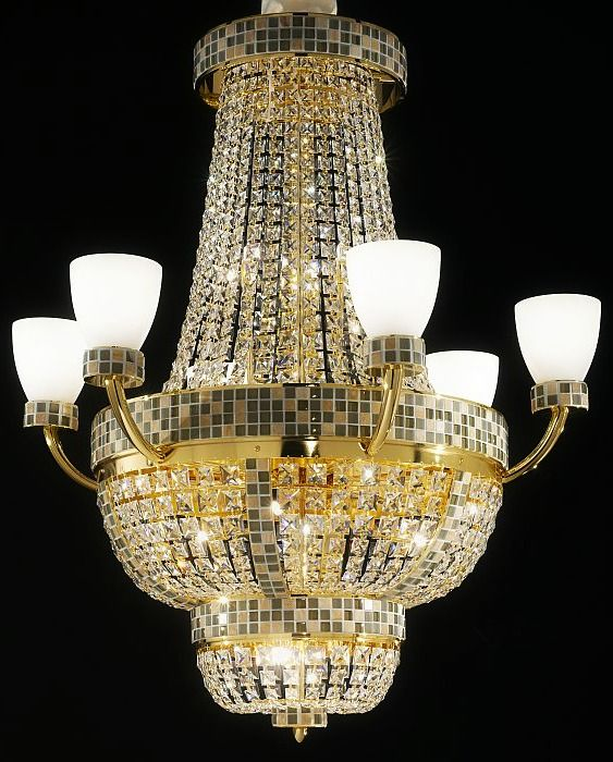 Buy beautiful dolce vita chandeliers ceiling and wall lights from the italian lighting centre including this mosaic patterned chandelier with a metal or