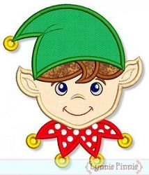 Elf Face Boy Applique - 4 Sizes!   Christmas   Machine Embroidery Designs   SWAKembroidery.com Lynnie Pinnie