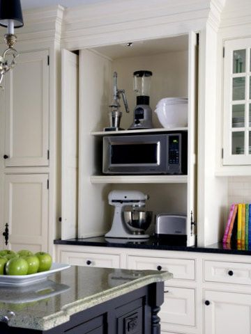 Great Workable Design To Hide Small Appliances Behind