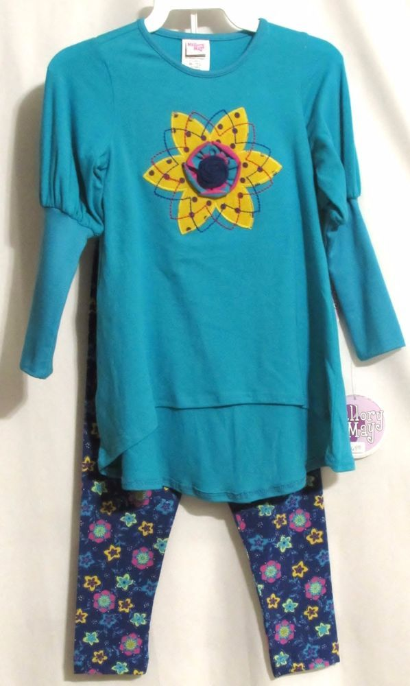 NEW Girls MALLORY MAY Teal Stretch Tunic Top & Blue Floral Leggings Outfit 4 #MalloryMay #VersatileDressyEveryday