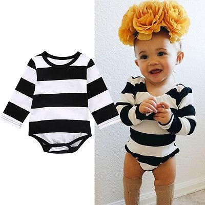 298b2c99007 Cute Baby Girl Black Striped Jumpsuit Hot Baby Boy Cotton Playsuit Kids  Clothes Outfits