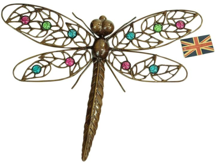 Dark Metal Wall Art Hanging Dragonfly with Multicoloured Glass Bead Decor