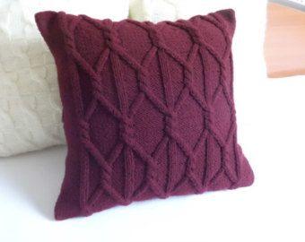 Câble bleu marine tricot oreiller housse coussin coussin by Adorablewares | Etsy