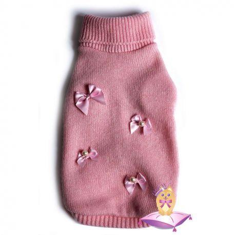 Baby Pearl Pull - Simple but chic  #dog crew-neck sweater, pink. Cashmere and merino wool |  Maglioncino girocollo per cagnoline in cachemire e lana merino #Chic4Dog