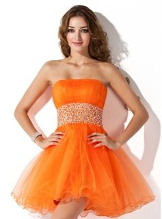 A-Line/Princess Strapless Short/Mini Tulle Homecoming Dress With Ruffle Beading beautiful simple orange design