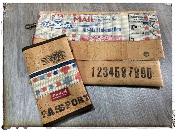 Bolso de mano y funda para pasaportes hecho con tejido de corcho