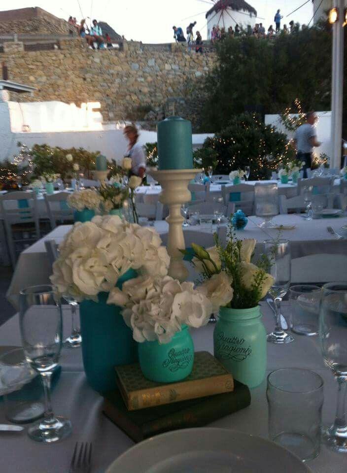 Blue & White wedding table decor www.royalblueevents.gr