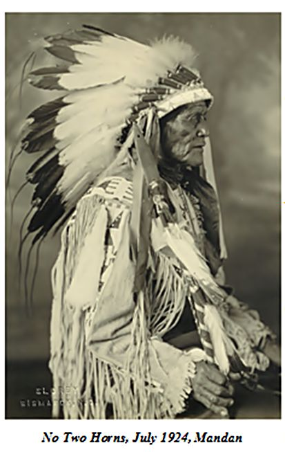 No two horns july 1924 mandan  indian long feathers headdress