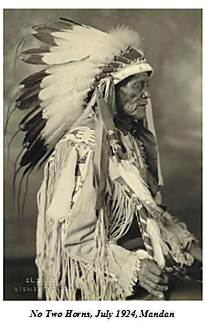 No two horns july 1924 mandan indian long feathers headdress