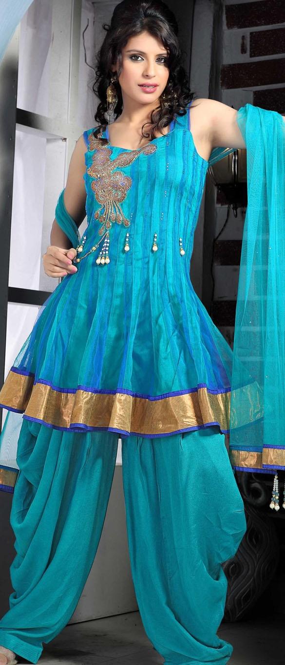 $114.66 Blue Sleeveless Net Punjabi Salwar Kameez 15368
