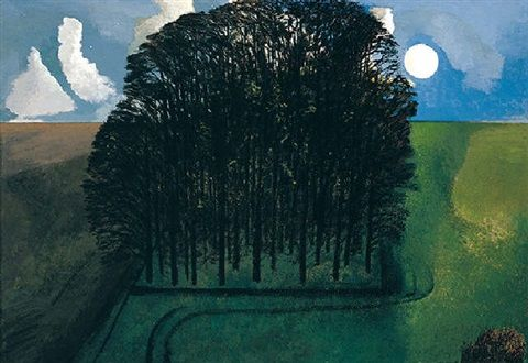 """""""Trees and Moon"""" by David Inshaw (oil on canvas)"""