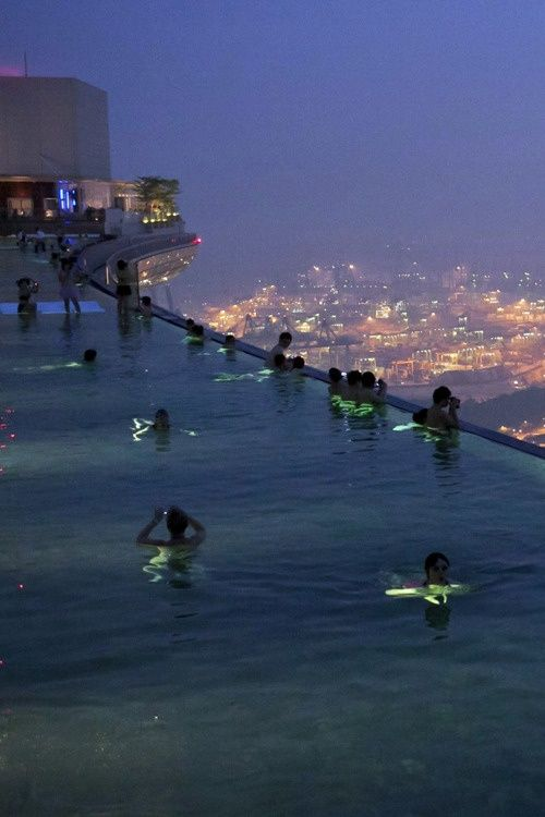 Amazing - swimming way on up in the sky! Marina Bay Sands Skypark Swimming Pool, Singapore
