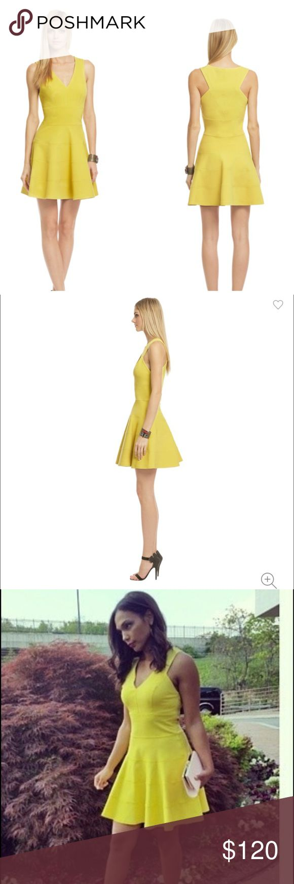 """ROBERTO RODRIGUEZ SOUR LEMONADE BANDAGE DRESS Sour Lemonade dress. Worn twice . Look lovely in lemon for your upcoming wedding event in this dress by Robert Rodriguez . The flared skirt and v neckline make this a flattering for for everyone. Pair with bold accessories for a truly memorable look. True to size . Fabric very stretchy. Model on 2-nd picture is 5""""10 tall. Circle skirt. Dry clean. Robert Rodriguez Dresses Midi"""
