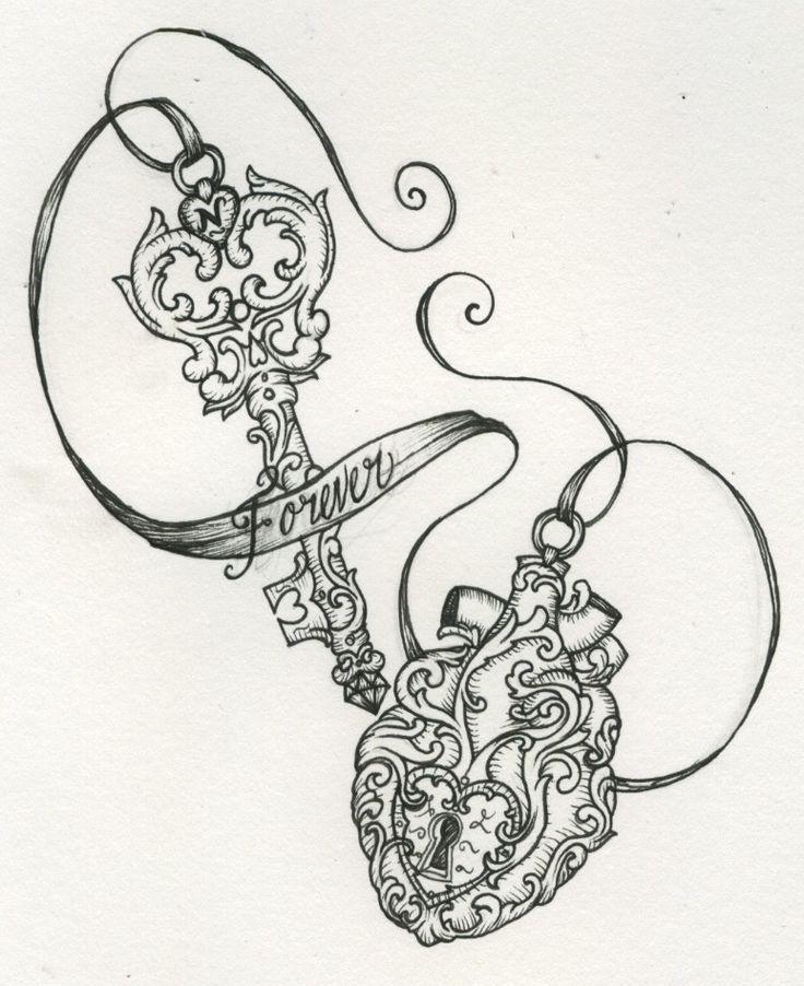 Beautiful vintage key & locket | Tattoos | Pinterest