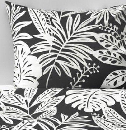 Ikea Fagerginst Double Duvet Set 200 x 200 cm Leaf Pattern 4 Pillowcases, BNWT