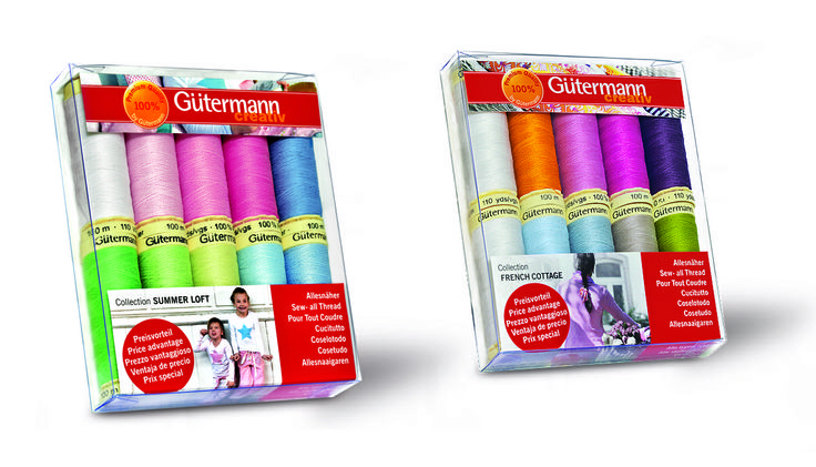 Gutermann sewing kits to fit theSummer Loft and French Cottage fabric collections.