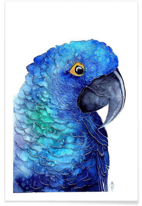 Parrot Ara als Premium Poster von Karolina Kijak | JUNIQE