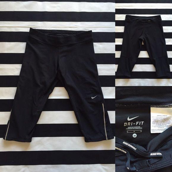 Nike DRI-FIT women's cropped capri pant sz M⚽️ Nike DRI-FIT women's cropped capri pant sz M⚽️ black color, great used condition, front adjustable drawstring and back zipper pocket Nike Pants Capris