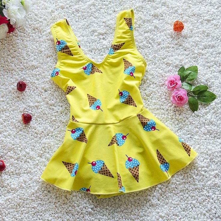 Girls Sweet Ice Cream Cone Skirt-Style One-Piece Swimsuit 2XL-5XL 2 Colors